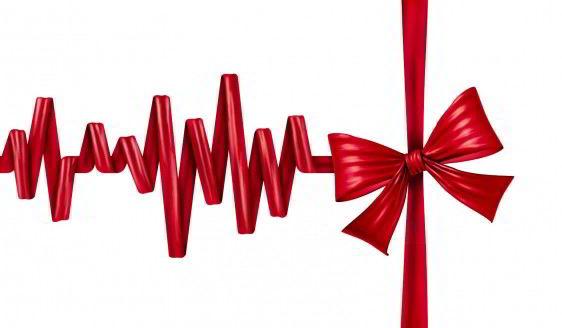 Ilustración de concepto de regalo de la vida médica, un listin arreglado cono cardiograma que termina con un moño de regalo