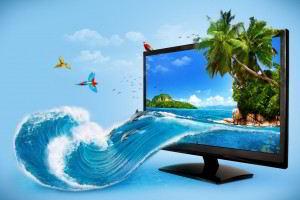 Ilustración de un monitor con una imagen de un océano que se desborda
