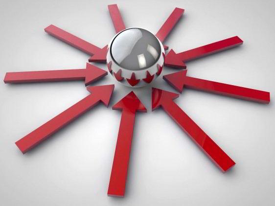 Ilustración de flechas rojas apuntando a esfera metalica en un fondo blanco