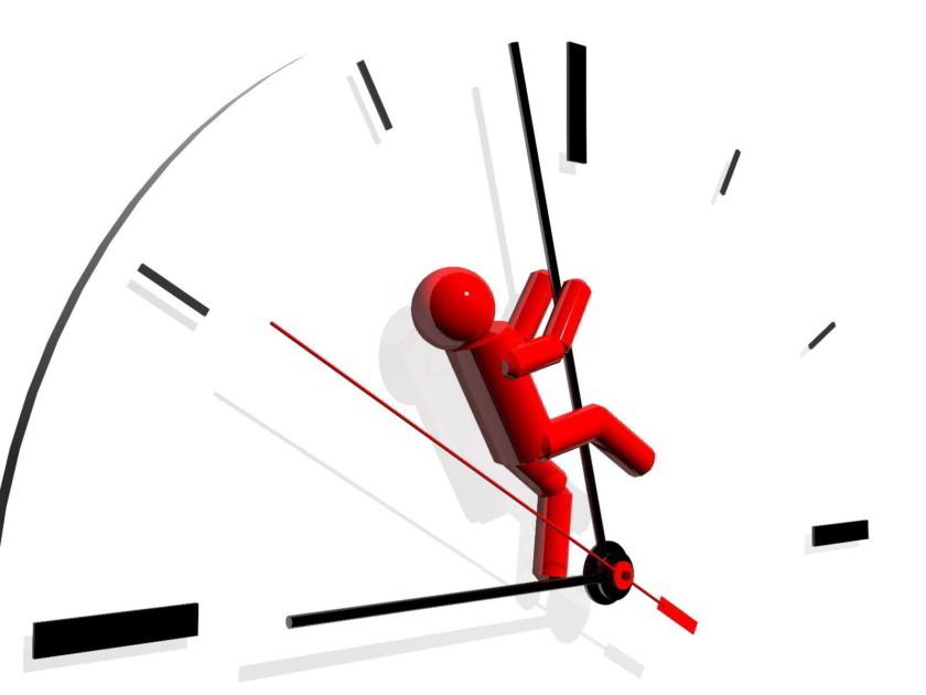 Iludstración de un reloj en donde un icono de una persona se esfuerza por regresar las maneceillas