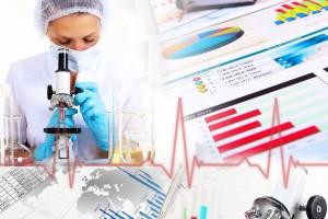 Mosaico con imagenes de medicina estadisticas y microsocopio