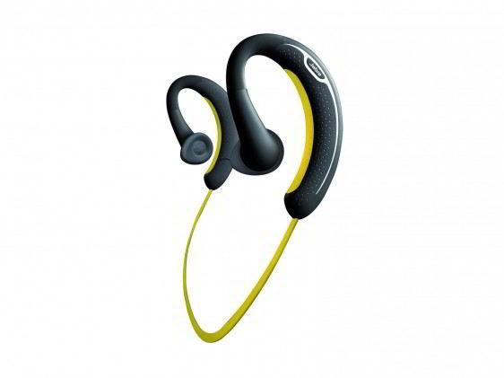 Audifonos negros con detalle amarillos unidos por un cable
