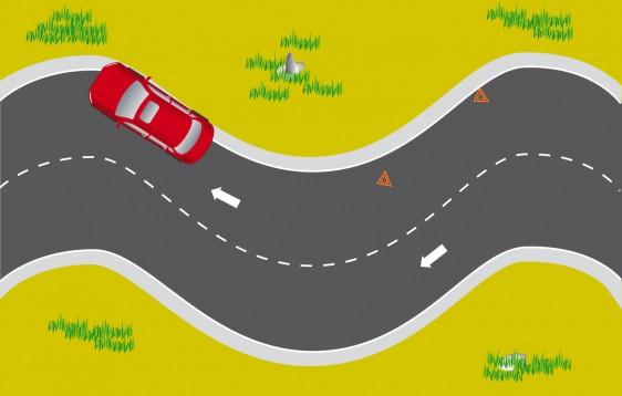 Ilustración de una carretera en curva