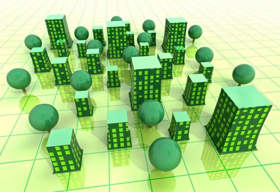 Ilustración de una ciudad 3D en color verde