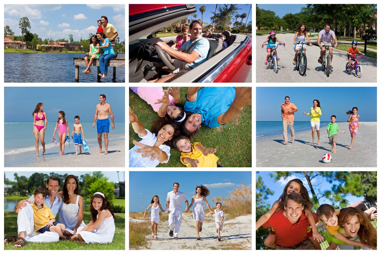 Mosaico de imagenes de familia en vacaciones en actividades como caminata ciclismo y en el coche