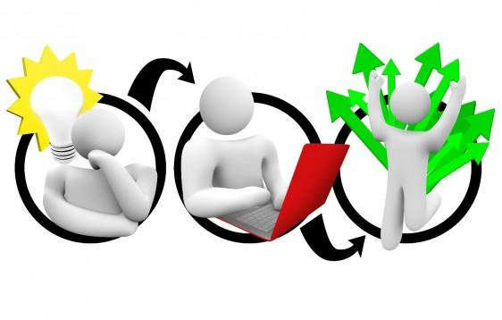 Ilustración del concepto de idea , planificación y ejecución