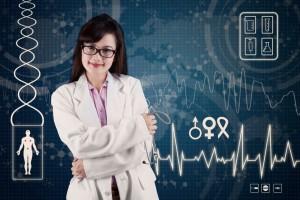 Doctora sonriendo al fondo ilustraciones de pulso, adn, y símbolos médicos