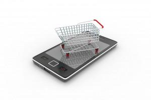 Carrotp de compras encima de un smartphone