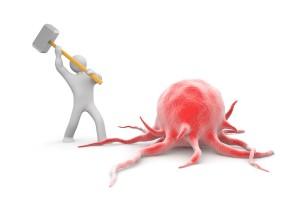 Ilustración 2D persona golpeando tumor