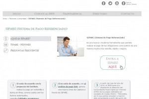 Pantalla de la página del SIPARE (Sistema de Pago Referenciado)
