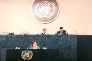 secretaria general de Sanidad y Consumo, Pilar Farjas en el podium de Naciones Unidas