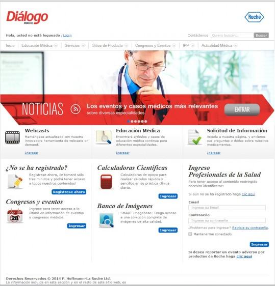 Imagen de la pantalla de portada del portal Diálogo Roche