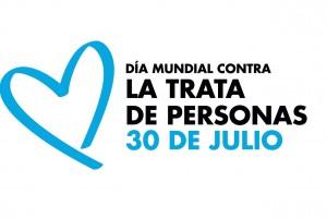 Corazón Azul con texto Día Mundial contra la Trata de Personas 30 de Julio