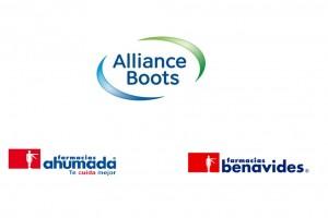 Logotipos de Alliance Boots abajo los logotipos de Farmacias Ahumada y de de Farmacias Benavides