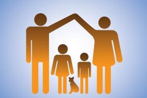 Ilustración de una familia padre y madre extienden sus brazos para hacer forma de cada con niños adentro