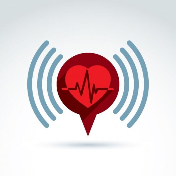 Ilustración de corazón cardiograma cardiología con icono de información