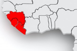 Acercamiento a mapa con Guinea, Liberia y Sierra Leona