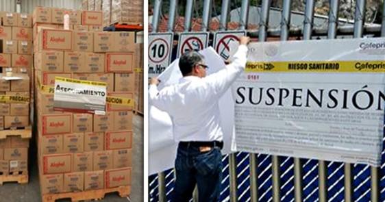 A la izquierda imagen de cajas en bodega con sello de aseguramiento a la derecha imagen con persona instalando cartel de suspensión