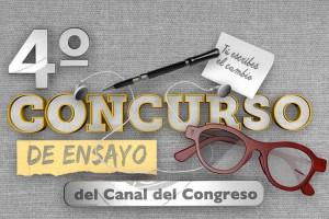 """Cartel del Cuarto Concurso de Ensayo """"Medios Públicos para el Fortalecimiento de la Democracia"""""""