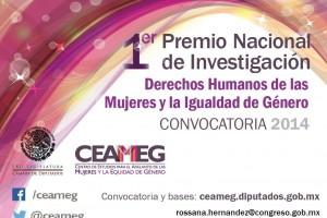 Cartel del Primer Premio Nacional de Investigación Derechos Humanos de las Mujeres y la Igualdad de Género