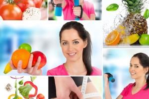 Mosaico de imágenes de mujer con hábitos saludables