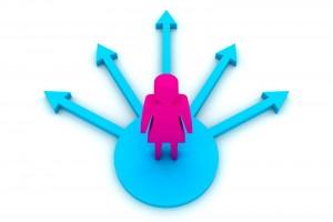 Ilustración 3D de una mujer eligiendo el camino