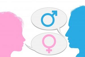 Ilustración de mujer y hombre conversando