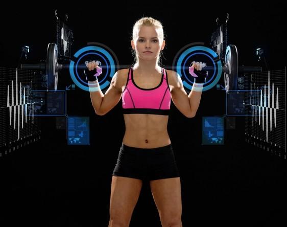 Ilustración de una mujer sosteniendo pesas virtuales