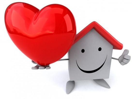 Ilustración 3D de una casa soteniendo con la mano en alto un corazón