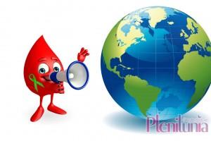 Ilustración de una gota de sangre con altavoz u listón verde le habla a una esfera mundo