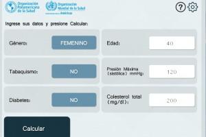 Pantalla que solicita capturar: Género, Edad, Tabaquismo, Presión Máxima, Diabetes y Colesterol total
