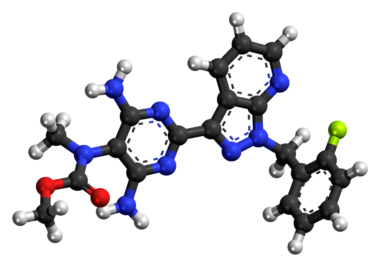 Ilustración de la molécula C20H19FN8O2