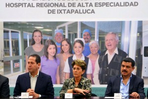 La Secretaria de Salud, Mercedes Juan y los gobernadores del Estado de México, Eruviel Ávila Villegas  y del Estado de Hidalgo, José Francisco Olvera Ruiz, realizan una visita de supervisión al Hospital Regional de Alta Especialidad de Ixtapaluca (HRAEI).