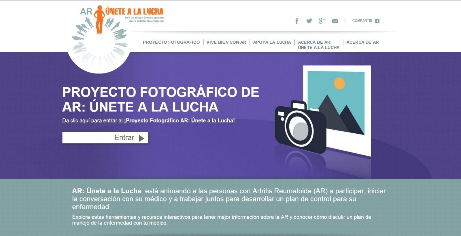 Captura de la pantalla del sitio AR: Únete a la lucha http://www.arunetealalucha.com/