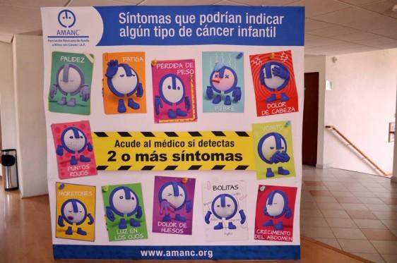 Cartel con ilustraciones de los sintomas de cáncer