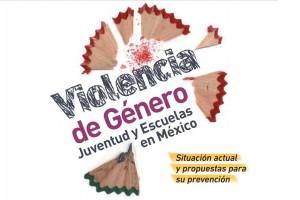 Ilustación de basura de lápiz y el texto Violencia de Género, juventud y escuelas en México