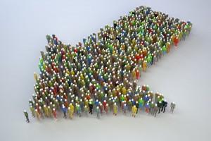Ilustración de muchas personas formando una flecha que apunta a una dirección