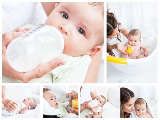 Recuadrso con imagenes de bebé cominedo, bañándose y recostado