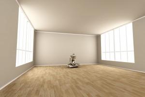 Ilustración 3D de una mujer sóla en un cuarto