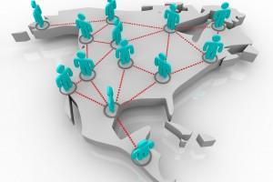 Ilustración D de América del Norte con iconos de personas de cikir azul interconectadas con lineas rojas
