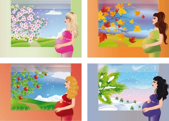 Ilustración de mujeres embarazadas en distintas estaciones del año