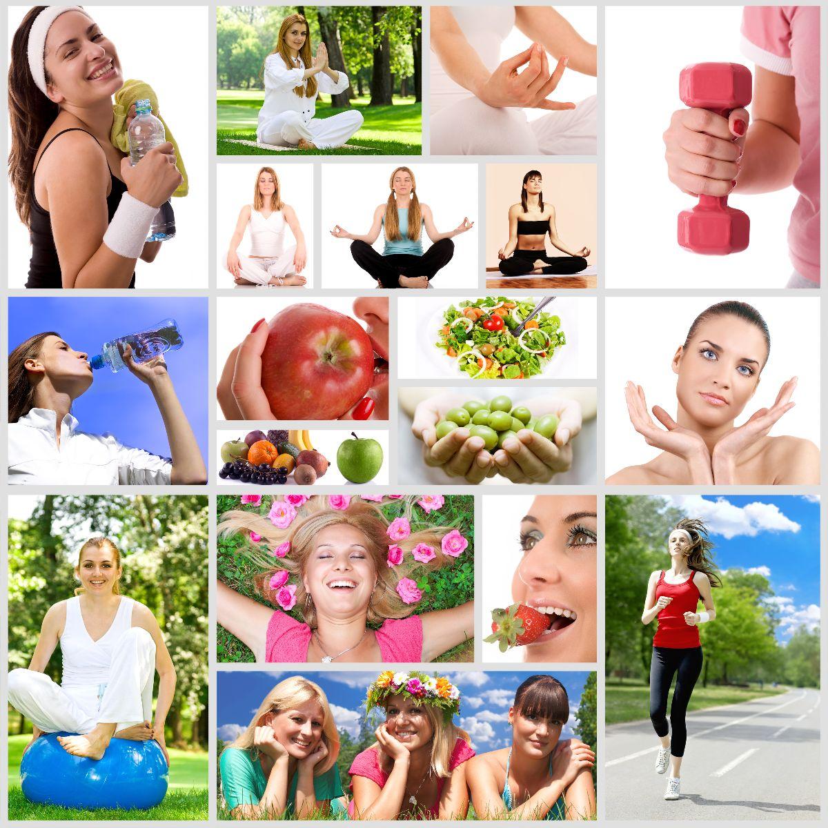 Cartel de fotografías en mosaico de actividades saludables