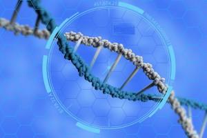 Ilustración 3D de un acercamiento de una cadena de ADN con un fondo azul
