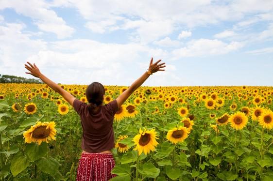 Mujer con los brazos abiertos en un campo lleno de girasoles