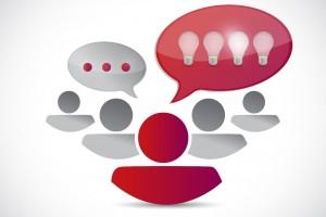 Concepto de pensar en equipo nuevas ideas ilustración de de persona con globo de dialogo lleno de focos y personas con globo de dialogo con puntos,