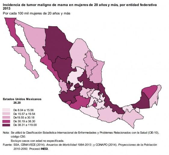 Mapa de la República Mexicana con datos de la incidencia de tumor maligno de mama en mujeres de 20 años y más, por entidad federativa 2013
