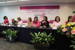 Senadoras u representantes de ONGs sentandas en una mesa escuchando