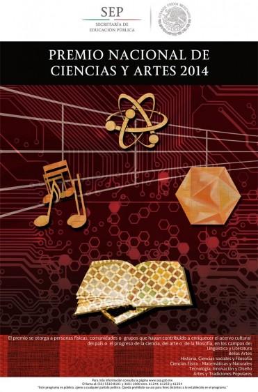 """Cartel del """"Premio Nacional de Ciencias y Artes 2014"""" ilustración con átomo, nota musical, hexagono y libro abierto"""