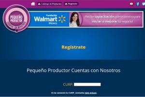 """Pantalla del sitio de registro en Internet del programa """"Pequeño Productor, Cuentas con Nosotros"""""""