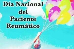 Ilustración de pesona volando con globos en un cielo azul